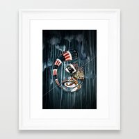 racoon Framed Art Prints featuring Racoon by mr. louis