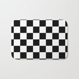 Checker Cross Squares Black & White Bath Mat