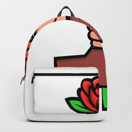 Two Hands Holding Red Rose Mascot Backpack