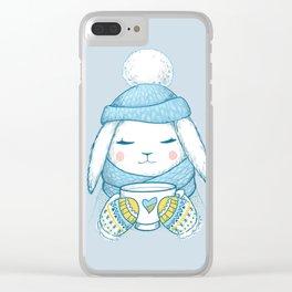 Winter Rabbit Clear iPhone Case