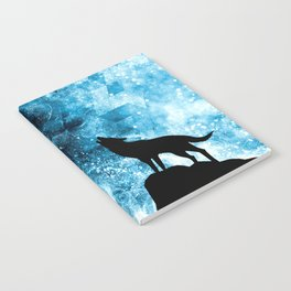 Howling Winter Wolf snowy blue smoke Notebook