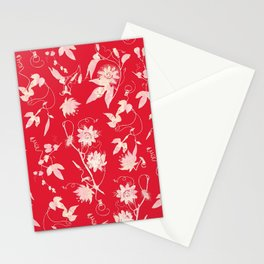 Festive Christmas Bright Red Passion Flowers Stationery Cards