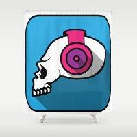 dj Shower Curtains featuring dj skull by Sezgen