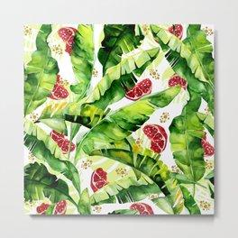 Banana leaf & Pomegranate Metal Print