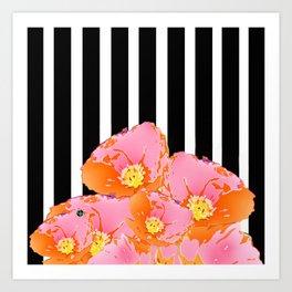 Poppy Stripes - Pink Art Print
