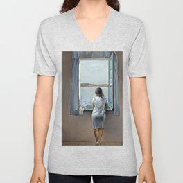 Salvador Dali Young Woman at a Window 1925 Artwork for Wall Art, Prints, Posters, Tshirts, Mwn, Women, Youth Unisex V-Neck