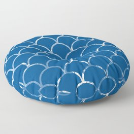 Textured large scallop pattern in snorkel blue Floor Pillow
