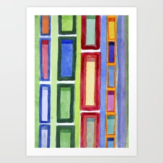 Narrow Frames in Vertical Rows Pattern Art Print