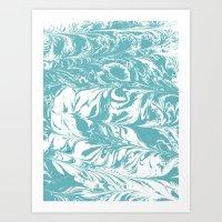 Japanese paper marbling suminiagashi pastel turquoise light blue ocean topography swirl marble Art Print