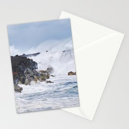 Crashing Waves on Lava Rock Cliffs Stationery Cards