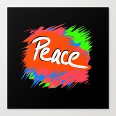 Peace (retro neon 80's style) Canvas Print