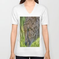 cheetah V-neck T-shirts featuring Cheetah by Darren Wilkes Fine Art Images