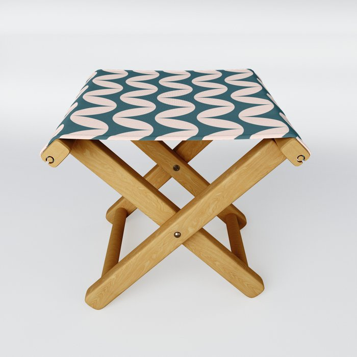 Geometric Leaf Shapes in Teal and Blush Folding Stool