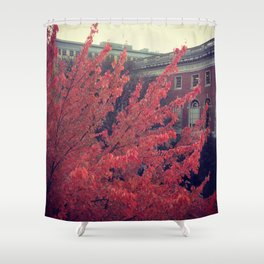 Library in Red Shower Curtain