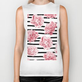 Simply Drawn Stripes and Roses Biker Tank