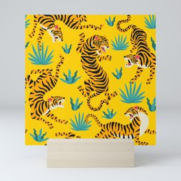 Yellow Tiger Tropical Pattern Mini Art Print