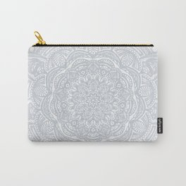 Light Gray Ethnic Eclectic Detailed Mandala Minimal Minimalistic Carry-All Pouch