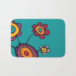 Flower Pot in Color on Teal Bath Mat