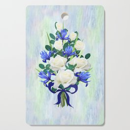 Blue Iris and Roses Bouquet with Blue Bow Cutting Board