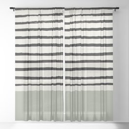 Sage Green x Stripes Sheer Curtain