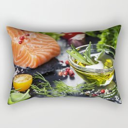 Delicious  portion of fresh salmon fillet  with aromatic herbs, spices and vegetables Rectangular Pillow