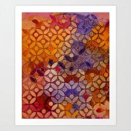 a piece of orange pink and peurple I Art Print
