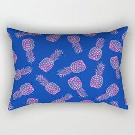 Modern pink Pineapple pattern design - blue Rectangular Pillow
