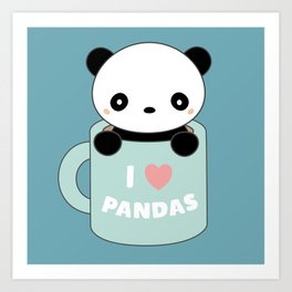 Kawaii I Love Pandas Art Print