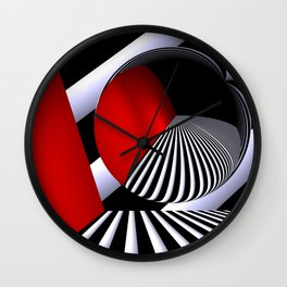 red white black -21- Wall Clock