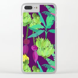 Banana Bunches in Dark Orchid Clear iPhone Case