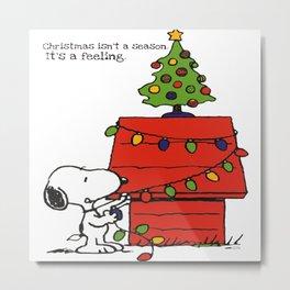 Snoopy Dog Happy Christmas Metal Print