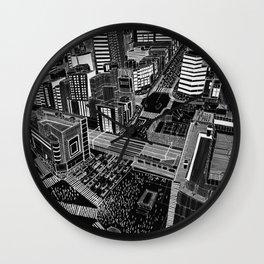 Shibuya in BW Wall Clock