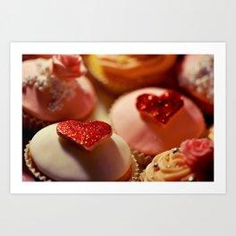heart cupcakes Art Print