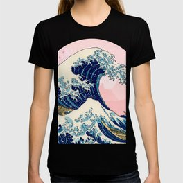 The Great Wave off Kanagawa by Hokusai in pink T-shirt