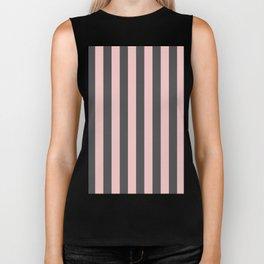 Millennial Pink Blush Coco Brown Neapolitan Stripes Pattern Biker Tank