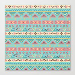 Hand painted teal coral ivory geometrical tribal pattern Canvas Print