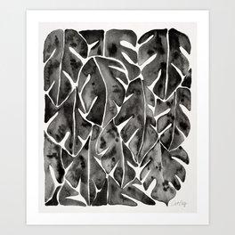 Split Leaf Philodendron - Black Art Print