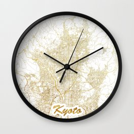 Kyoto Map Gold Wall Clock