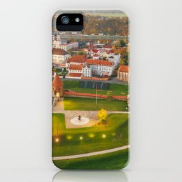 Kaunas old town, aerial view iPhone Case