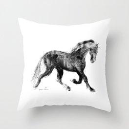 Horse (Friesian Colt) Throw Pillow
