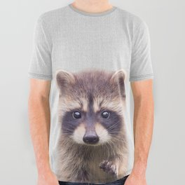 Raccoon - Colorful All Over Graphic Tee
