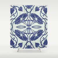 spawn Shower Curtains featuring Blue Morning Glory by Project Spawn