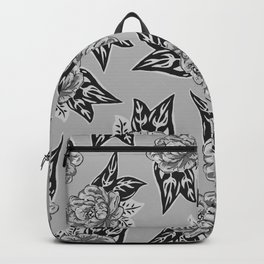 Cabbage Roses in Grey Backpack
