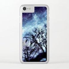 Black Trees Indigo Blue Space Clear iPhone Case