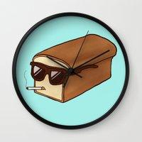 bread Wall Clocks featuring Cool Bread by Josh LaFayette