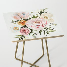 Loose Peonies & Poppies Floral Bouquet Side Table