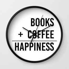 Books + Coffee = Happiness - Typography Wall Clock