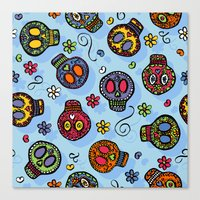 sugar skulls Canvas Prints featuring Sugar Skulls by Kara Peters