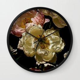 Peonies on Black.4545 Wall Clock