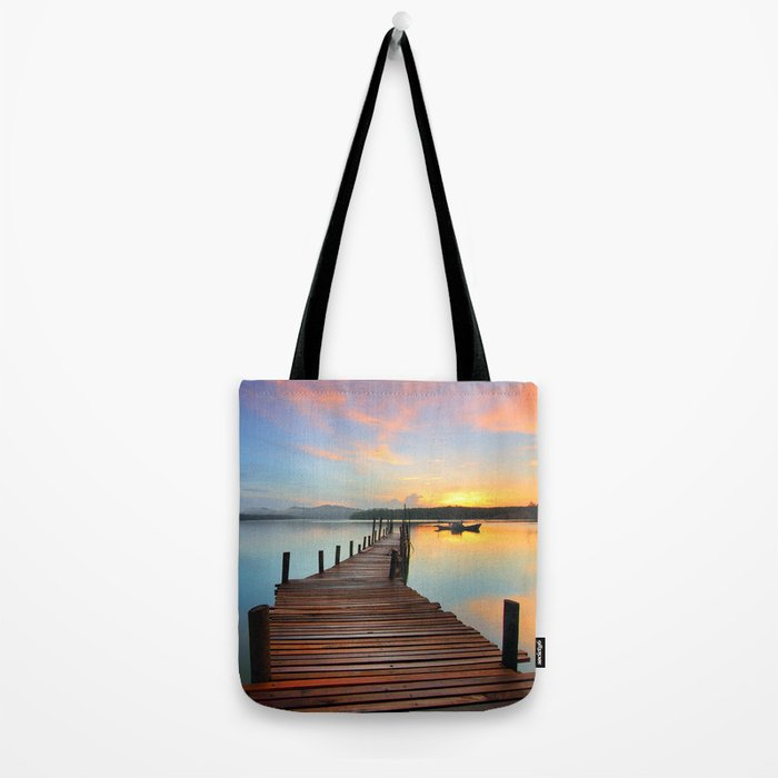 Pier on the Water at Sunset  Tote Bag